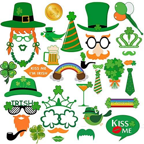Sayala 35Stücke Foto Booth Props zum St. Patrick's Day Dekorationen Irish Day Kreative Lustige Verkleidungs Requisiten für Parteien oder Gruppen Fotos