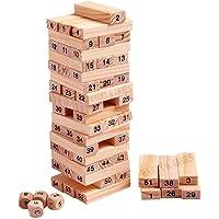 HARRY & JAMES® Zenga Wooden Building Blocks Puzzle 54 Pcs Challenging 4pcs Dice Wooden Zenga Stacking Game Maths…