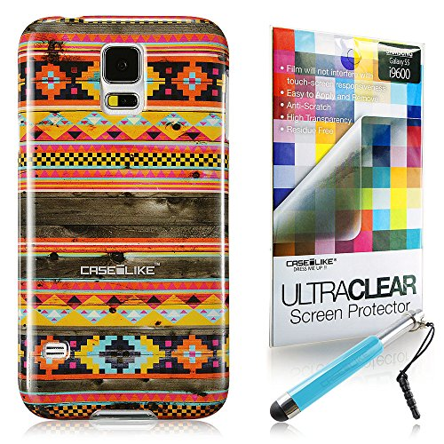 CaseiLike ® Indian 2048 Hybrid Streifen Tribal Theme Muster, Shell Haut Gel-Snap-on Gehäuseboden cover für Samsung Galaxy S5 i9600 i9605 + Schutzfolie Retractable Stylus Stifte (zufällige Farbe)