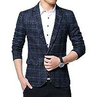 YOUCAI Mens Casual Blazer Tweed Check Suit Jacket Plaid Suits Slim Fit Blazer Coat One Button Suits Business Suit…