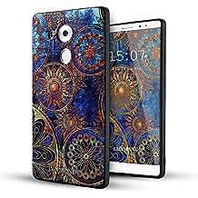 Huawei Mate 8 Funda,Lizimandu 3D Patrón Protectiva Carcasa de Silicona Gel TPU estrecha Case Cover Para huawei mate8(Flor Azul/Blue Flower)