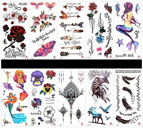 PAMO 10pcs Tattoo Horse Tattoo-Sticker in Paketen, einschließlich Schmuck, Obst, Vögel, Frauen, Mann, Tier, Hund, Pferd, Löwe, Fisch, Adler, Frau mit Schmetterlingen, Engel usw.