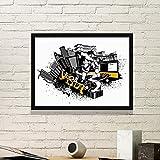 DIYthinker Inverno sciistica sci e City Silhouette Semplice illustrazione Cornice Stampe di quadri di parete della casa della decalcomania Medium Nero