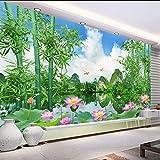 Fushoulu Benutzerdefinierte Fototapete 3D Bambus Wald Natur Landschaft Wohnzimmer Tv Hintergrund Wandtattoo Zitate Tapeten Druck-400X280Cm
