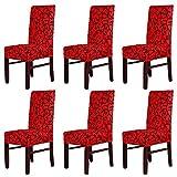 MultiWare Housse De Chaise Extensible Salle à Manger Couverture Pour Chaise Rouge Et Noir 6 Pcs