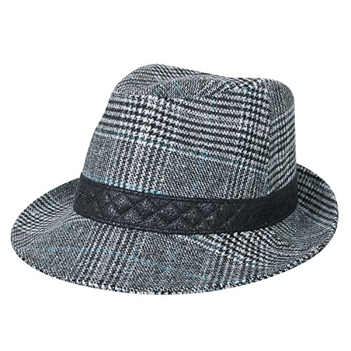 ililily grosses Ausmaß kariert Wolle Fedora künstliches Leder Band Panama Hut , White Plaid (Herren Fedora Plaid)