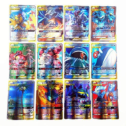 Carte De Jeu 120pcs pour L'équipe D'étiquette, 80 Cartes pour L'équipe D'étiquette, 20 Cartes pour Mega, 20 Cartes pour GX, Paquets De Cartes À Collectionner Brillants Pokemon, pour 5 Ans
