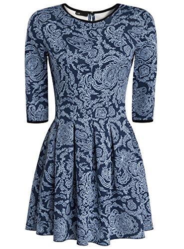 oodji Ultra Damen Jersey-Kleid mit Faltenrock Blau (7970E)