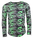Longsleeve - Camouflage Style - in Neonfarben - grün Größe M