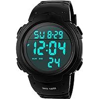 Orologi da uomo sportivo digitale - 50 m impermeabile sport orologio con cronometro, nero Big Face corsa orologio da…