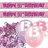 Unique Einzigartige bpwfa-4170Glitz 13. Geburtstag Folie Banner Party Deko-Set, pink