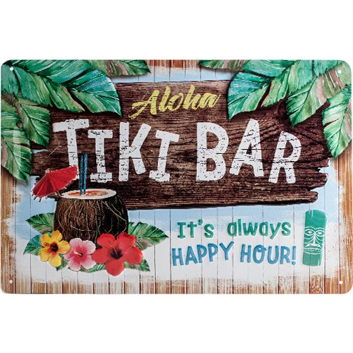Nostalgic-Art-22251-Open-Bar-Tiki-Cartel-de-chapa-20-x-30-cm