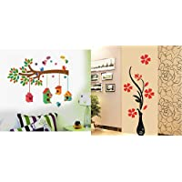 Decals Design ' Bird House on a Branch' Wall Sticker (PVC Vinyl, 70 cm x 25 cm, Multicolour) & 'Flowers with Vase' Wall Sticker (PVC Vinyl, 60 cm x 60 cm), Multicolour Combo