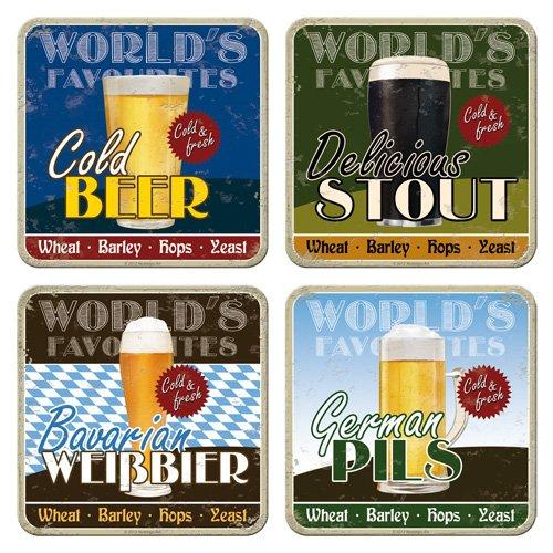 Nostalgic-Art 46011 Bier und Spirituosen World's Favourite Beers, Untersetzer-Set, 4-teilig -