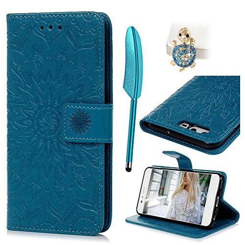 Huawei P10 Flip Cover, Custodia Libro Pelle PU e TPU Silicone con Funzione Supporto Chiusura Magnetica Portafoglio Libretto Bumper Case per Huawei P10, Girasole Blu