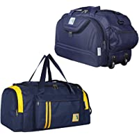 M MEDLER Epoch-Apricate Nylon Waterproof Combo Travel Duffle Bags - Navy Blue (Set of 2)