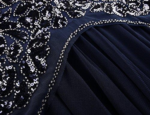 Kayamiya Damen 1920er Jahre Perlen Pailletten Floral Maxi Lange Gatsby Flapper Abendkleid 44-46 Blau - 5