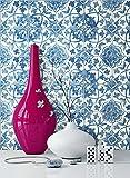 NEWROOM Tapete Blau Mauer Fliesen Modern Papiertapete Weiß Papier moderne Design Optik Tapete Küche inkl. Tapezier Ratgeber