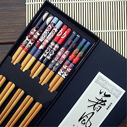 5 Pairs Of Decorated Japanese Style Bamboo Chopsticks (Lucky Cats)