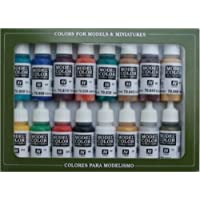 Vallejo Coffret de 16 pots de peinture acrylique Couleurs assorties