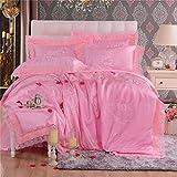 LifeisPerfect L03 niñas Rosa sábanas Set 4pcs Princesa Juegos con Camas Queen Size Borde...