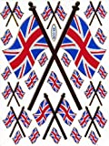 Inglaterra Reino Unido Bandera de Reino Unido pegatinas de coloured 22pc 1(135mm x 100mm adhesivo Craft Party aspecto metálico