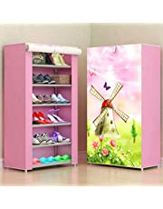 Aysis Multipurpose Portable Folding Shoe Racks for Home Organisers with Waterproof cover-6-Tiers- WindMillPink