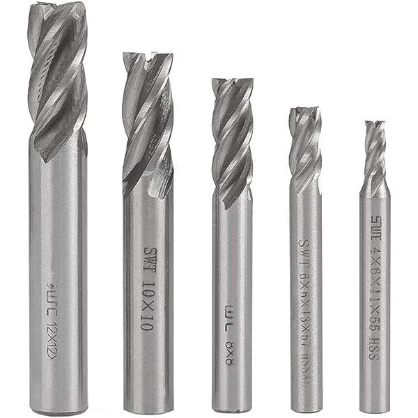 5pcs HSS CNC 4-Flute End Mill Cutter Milling Machine Straight Shank Bit 1//4*1//4