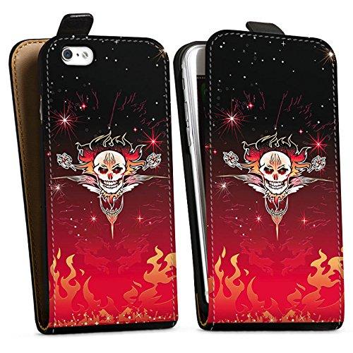 Apple iPhone X Silikon Hülle Case Schutzhülle Tribal Schädel Tattoo Downflip Tasche schwarz