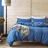 Boqingzhu Bettwäsche Garnitur Doppelbet Einfarbig Meeresblau 3 Teilig1 Bettdeckenbezug (220 x 230 cm) mit 2 Kopfkissen (80 x 80 cm) Pastell Gegen Schimmel Baumwolle