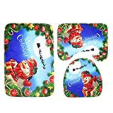 Wenquan,Babbo Natale Schema 3pcs Water Mat Tappetino(Color:Blu)