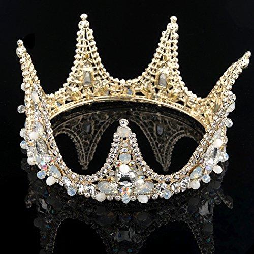 handcess Hochzeit Krone und Tiara gold Strass Opal Queen Pricess Haarband Haar Stück für Frauen und Mädchen