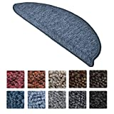 Beautissu Stufenmatten ProStair 15er Set in 55x15cm Treppenmatten eingekettelt, starke Befestigung - Dunkel-Blau