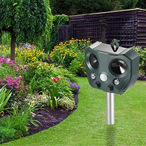 SuRose Vogelabwehr Solar Tiervertreiber, Bewegungsmelder-PIR-Sensor und Blitzlicht-Abschreckung mit 2 Lautsprechern, Für Gartenratten im Freien, Wühlmäuse, Waschbären, Füchse, Nagetiere usw.