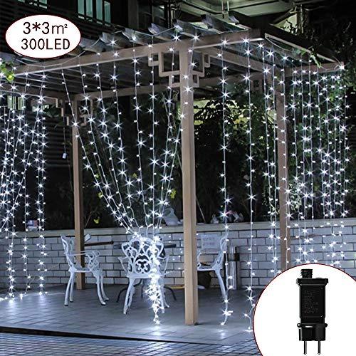 CREASHINE LED Lichterkette 3 * 3M 300er LED Weiß Lichtervorhang, dimmbare Kupferdraht IP44 Wasserdicht 8 Modi Außerlichterkette Deko für Garten, Bäume, Terrasse, Weihnachten, Hochzeiten, Partys