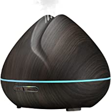 kapimo 400 ml Aroma Diffuser Humidifier Ultrasonic Air Essential Oil Electric Freshener with 7 Color Changing LED Lights Automatic Shutdown and 4 Settings Timer Dark Wood Grain