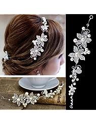 Outstanding® Hermosa flor horquilla blanca cristal Rhinestone accesorios para el cabello clip novia banda peine para Dama Niña