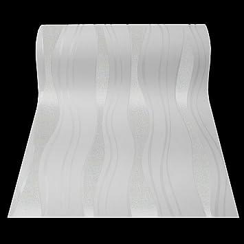 Tapete weiß silber  13191-20 13191-30) 1 Rolle hochwertige Vlies Tapete coole Retro ...