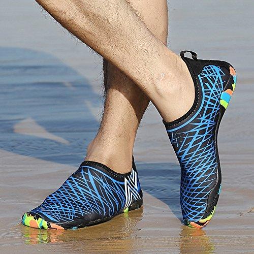 JACKSHIBO Uomo Flessibile Aqua Scarpe Asciugatura rapida Water Skin Calzini Scarpe per Spiaggia Nuoto Surf Yoga Blu