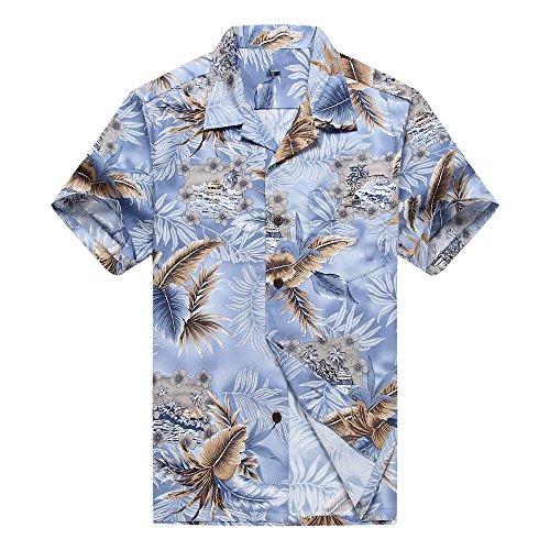 Hombres Aloha camisa hawaiana en Hoja Azul y Gris M