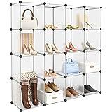 LANGRIA Chaussures 16 Cube Organiseur multifonctionnel Plastique Cube ouvert étagères de rangement Bibliothèque Closet Cabinet meubles gain de place pour vêtements Chaussures(Blanc transparent)