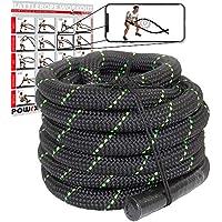 POWRX Battle Rope 9M x 38 mm Ø - Ideal para »Functional Fitness« - Agarre Antideslizante + PDF Workout (Negro/Verde)