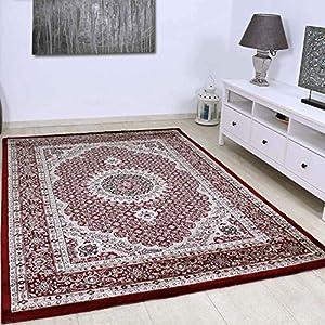 VIMODA Teppich Klassisch Gemustert Kreis, sehr dicht gewebt, Orient Muster in Rot - Top Qualität, Maße:200 x 290 cm