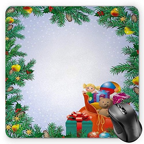 pads, Children's Toys Composition Inside a Bag of Santa Teddy Bear Ball Ornate Boxes, Standard Size Rectangle Non-Slip Rubber Mousepad, Multicolor ()