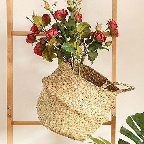 TAOtTAO Flower Basket Seegras-Weidenkorb-Weidenkorb-Blumen-Topf-faltender Korb-schmutziger Korb (Beige)