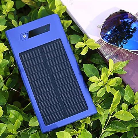 Rungao Portable Power Bank 20000mAh Chargeur solaire–chargeur de batterie externe pour iPhone 6/6Plus, iPad Air 2/Mini 3, Galaxy S6/S6Edge Bleu