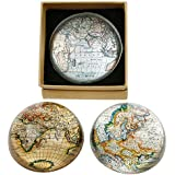 cartogr aphy/World Map semi Spherical Glass paperw Eight (x1)-8cm by Shudehill
