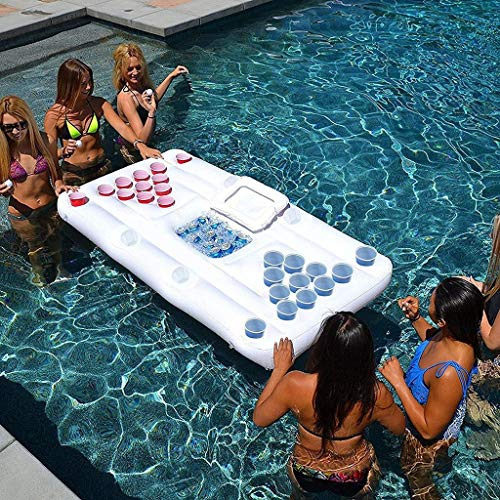 uftmatratze-Bett, Bier Pong Spiel Pool Party Float, Game Pool Table Water Floating, Getränkekühler, Für Erwachsene (180cm) ()