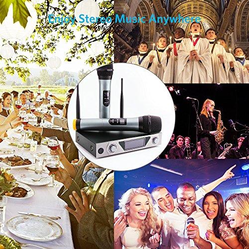 Wireless Mikrofon, UHF Funkmikrofon set Mikrofon System Karaoke Mikrofon Professional Dual 2 Handmikrofon Set Drahtloses Mikrofonsystem mit LCD Display für Outdoor Hochzeit, Konferenz, Karaoke usw. - 5