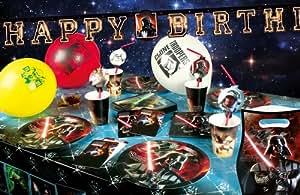 star wars kit décoration anniversaire 46 pièces pour 8 personnes